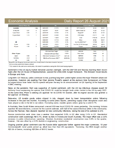 daily economic analysis report