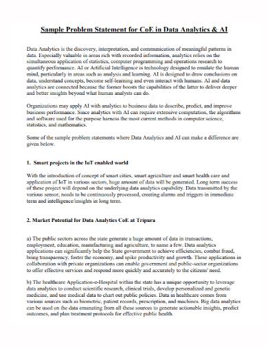 data analytics problem statement