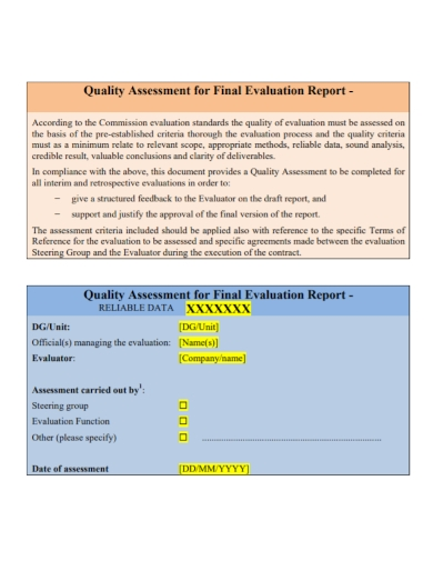 data quality assessment final evaluation report