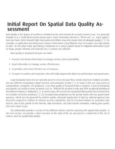 data quality assessment initial report