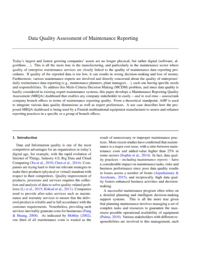 data quality assessment maintenance report