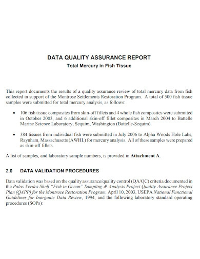 data quality assurance reports