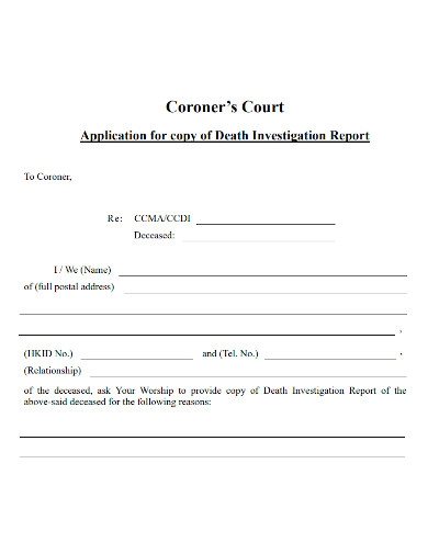 death investigation report copy application