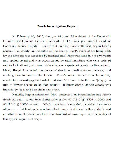 death investigation report sample