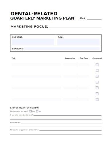 dental quarterly marketing plan