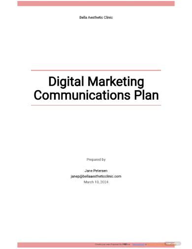 digital marketing communications plan template