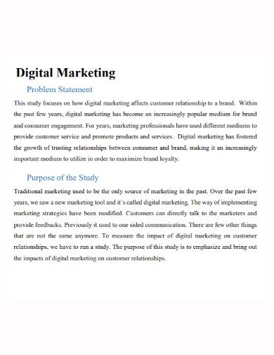 digital marketing problem statement