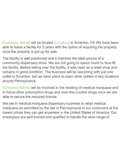 dispensary business plan format