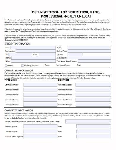 dissertation professional project proposal