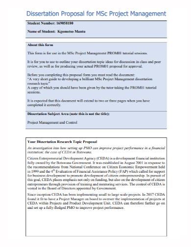 dissertation project management proposal
