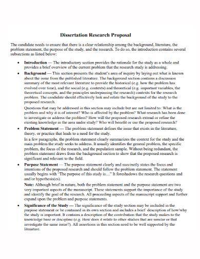 dissertation research proposal problem statement