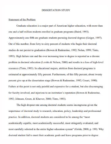 dissertation study problem statement