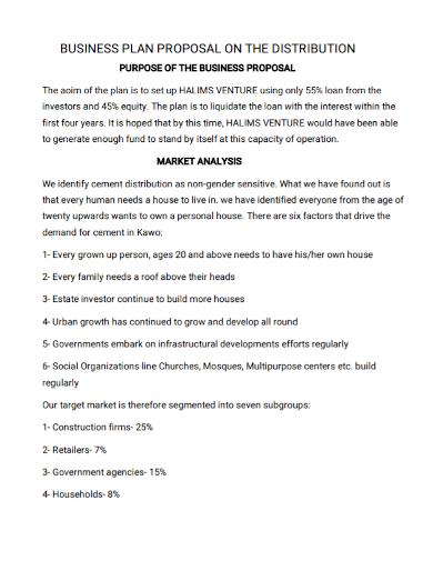 distribution business proposal plan