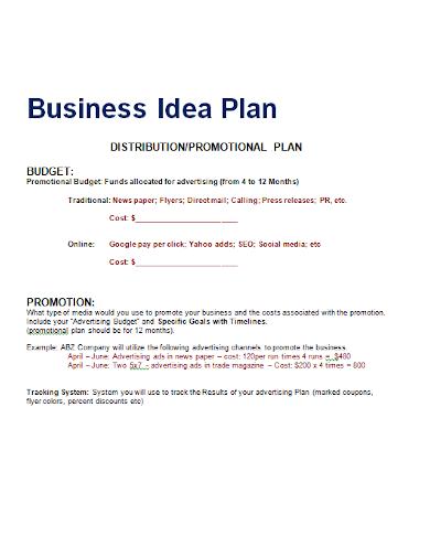 distribution promotion business plan