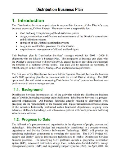 distribution services business plan