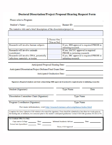 doctoral dissertation project request proposal