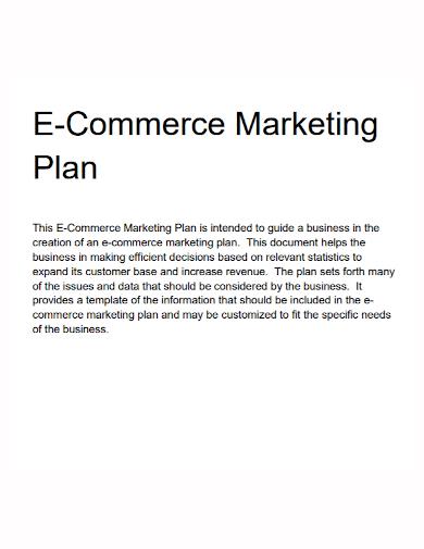 e commerce marketing plan