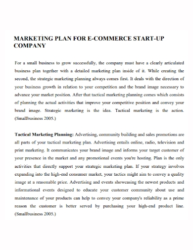 e commerce startup company marketing plan