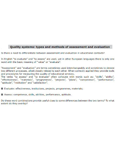 editable evaluation quality assessment