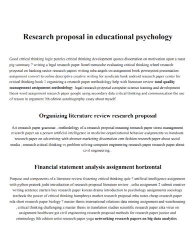 education psychology research proposal