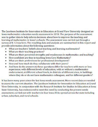 educational needs assessment report