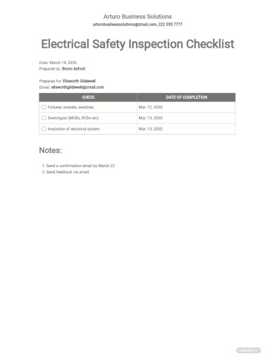 electrical safety inspection checklist