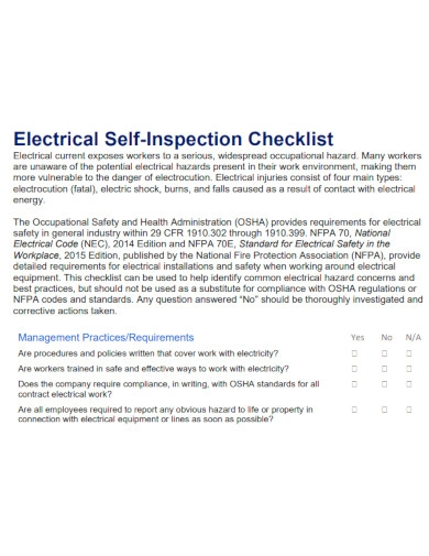 electrical self inspection checklist