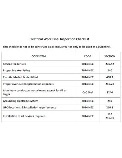 electrical work final inspection checklist
