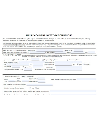 employee accident investigation report