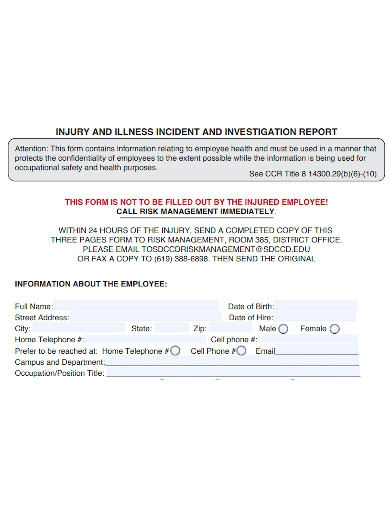 employee incident and investigation report