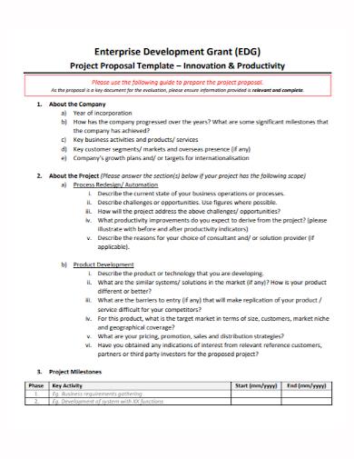 enterprise development grant project proposal