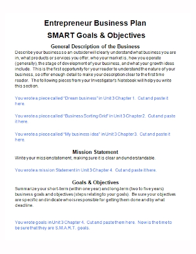 entrepreneur business plan smart goals