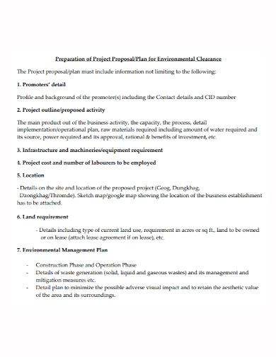 environmental clearance project proposal