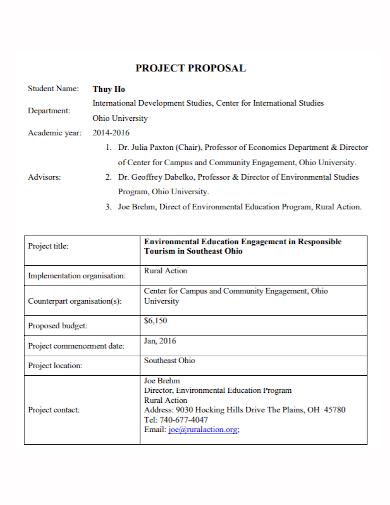 environmental education project proposal
