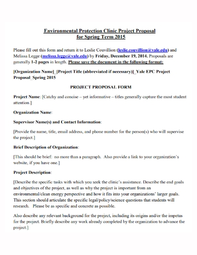 environmental protection clinic project proposal