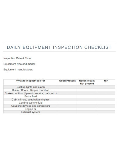 equipment daily inspection checklist