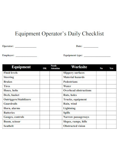 equipment operator's daily checklist