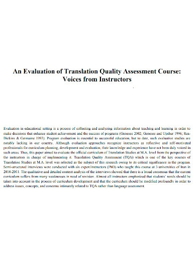 evaluation translation quality assessment