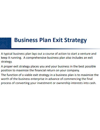 exit strategy business plan sample