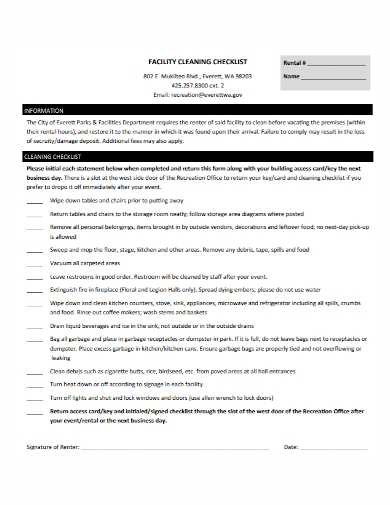 facility cleaning checklist