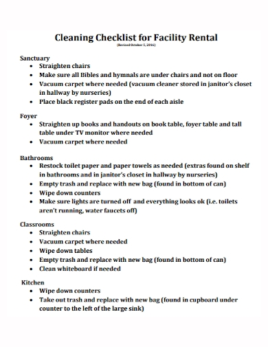 facility rental cleaning checklist