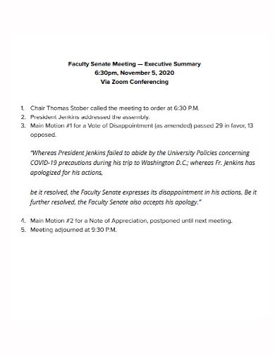 faculty meeting executive summary