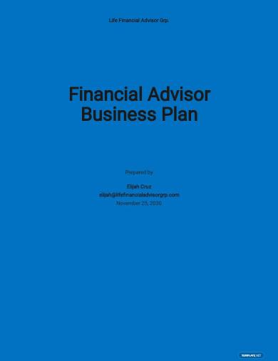 financial advisor business plan sample