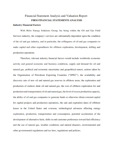 financial statement analysis valuation report