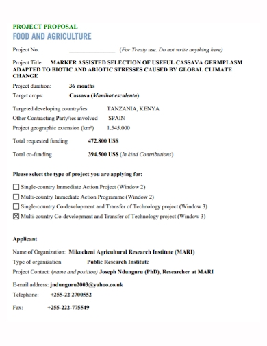 food agricultural project proposal