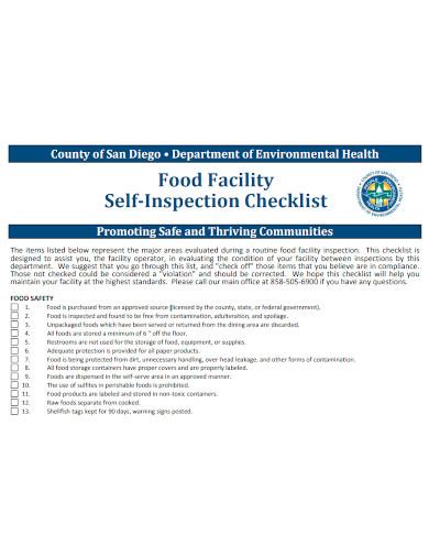 food facility self inspection checklist