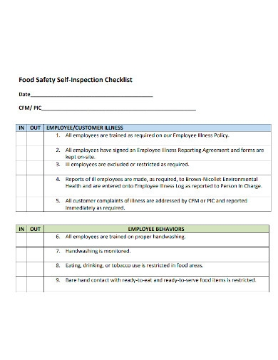 food safety self inspection checklist