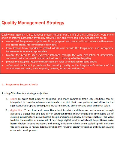 formal quality management strategy