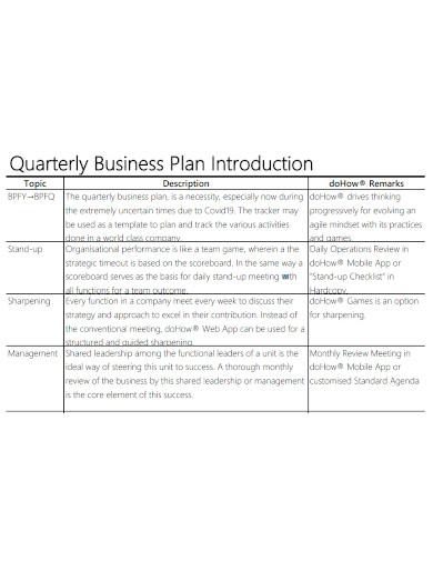 formal quarterly business plan