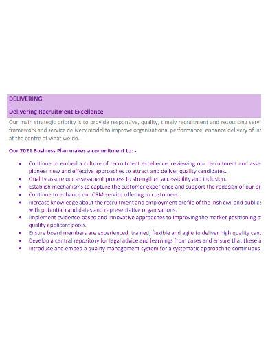 formal recruitment business plan